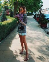 jacket,plaid blazer,mini dress,sandal heels,black bag,handbag,earrings,sunglasses