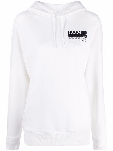 HUGO logo drawstring hoodie - White