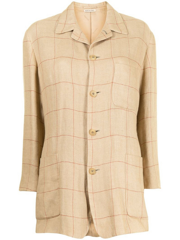 Hermès pre-owned checked shirt jacket in brown