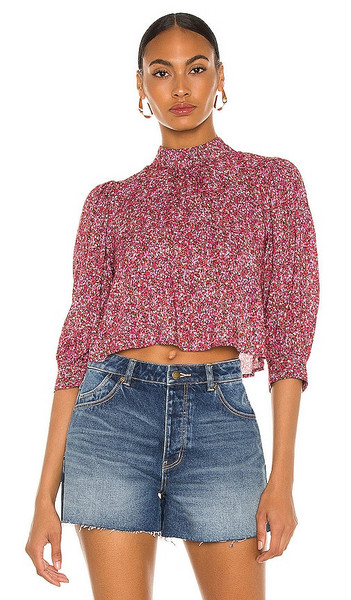 ROLLA'S Stephanie Paris Floral Blouse in Pink in red