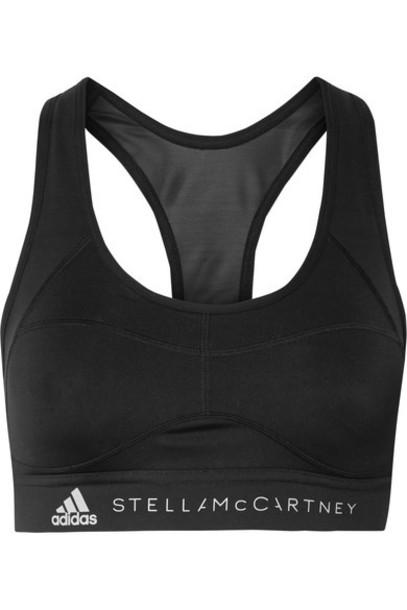 adidas by Stella McCartney - Essentials Mesh-paneled Climalite Sports Bra - Black