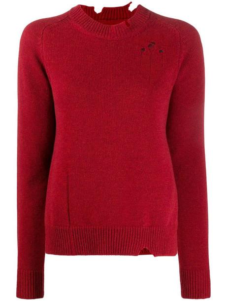Maison Margiela distressed side slit jumper in red