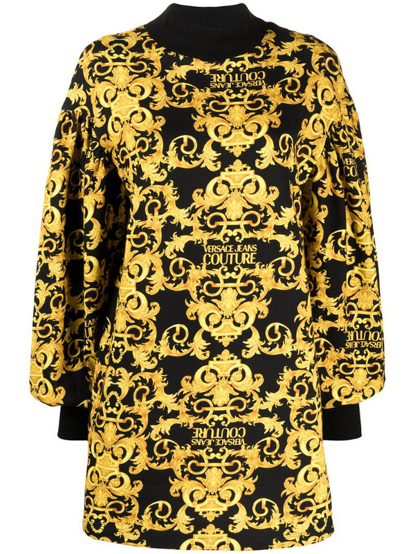 Versace Jeans Couture Logo Baroque-print shift dress in black