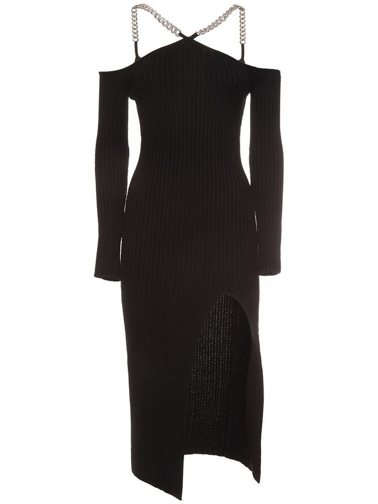 GIUSEPPE DI MORABITO Wool Blend Off-the Shoulder Midi Dress in black
