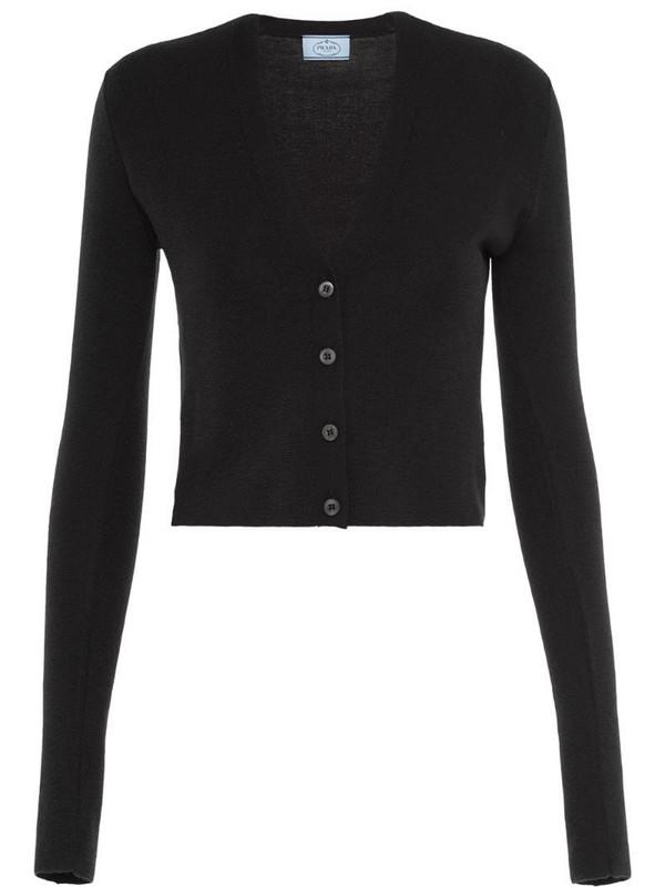 Prada V-neck cropped cardigan in black