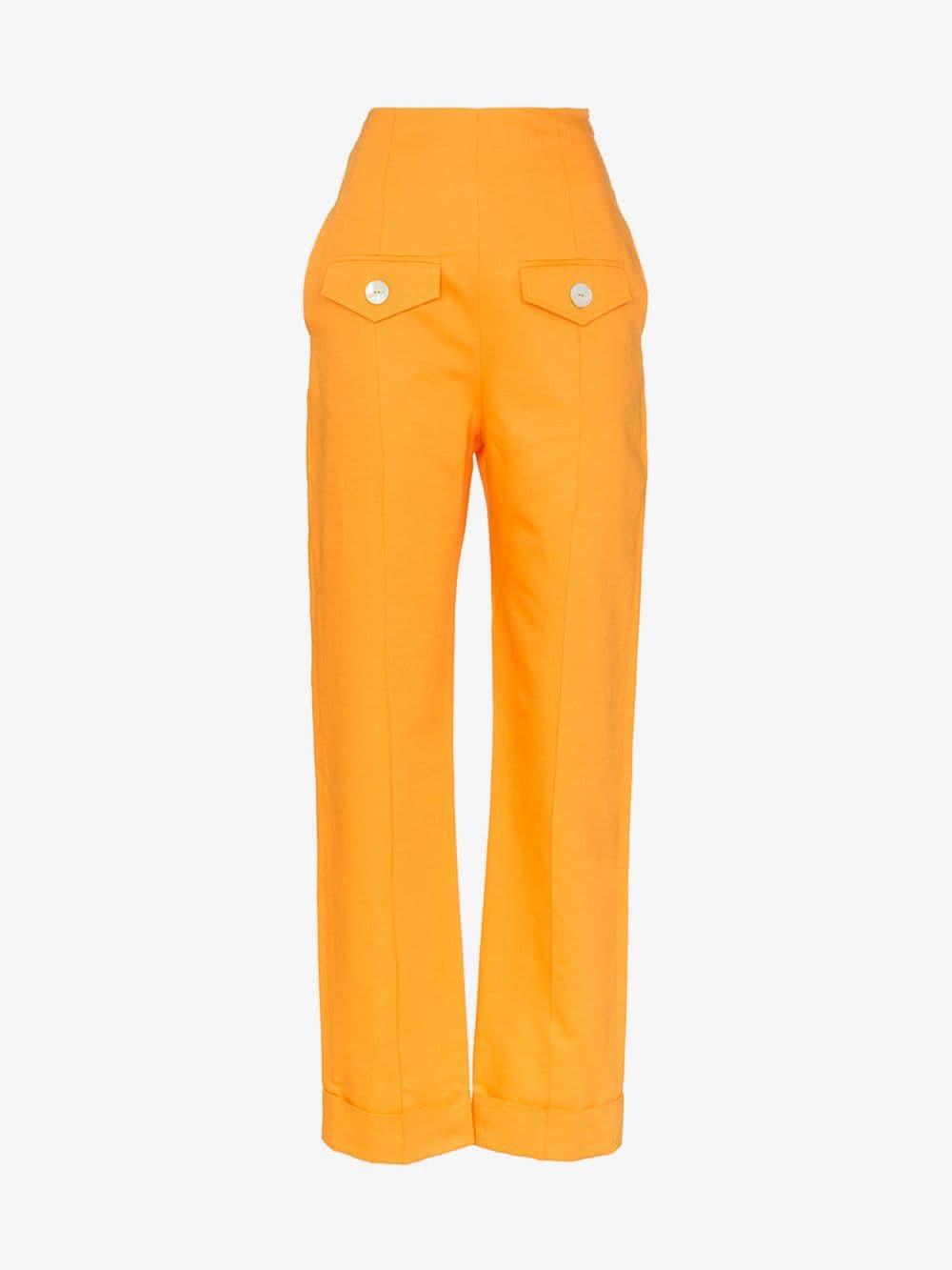 George Keburia high-waisted pocket detail straight leg trousers in orange