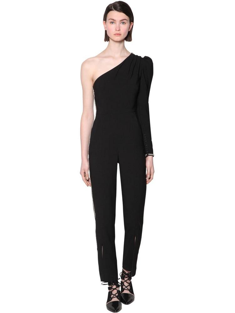 SELF-PORTRAIT Embellished One Shoulder Crepe Jumpsuit in black