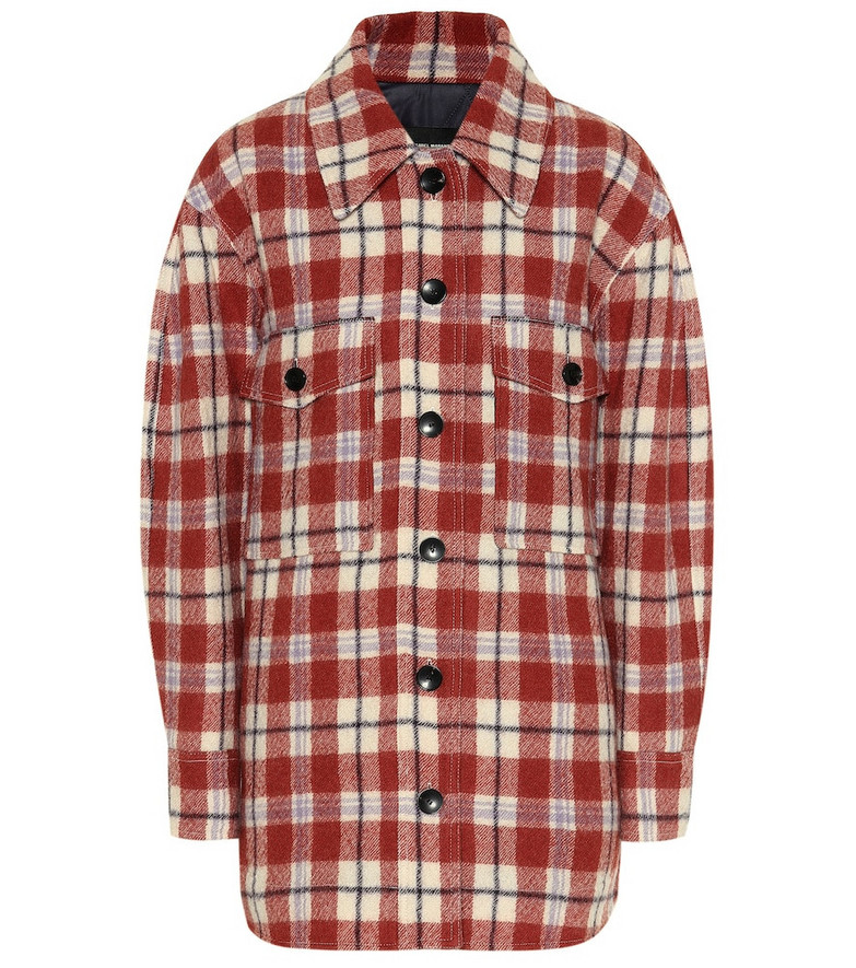Isabel Marant Harvey checked virgin wool jacket in red