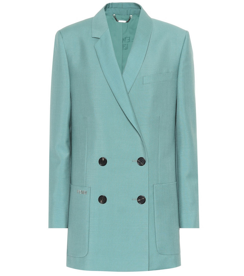 Fendi Double-breasted mohair-blend blazer in green