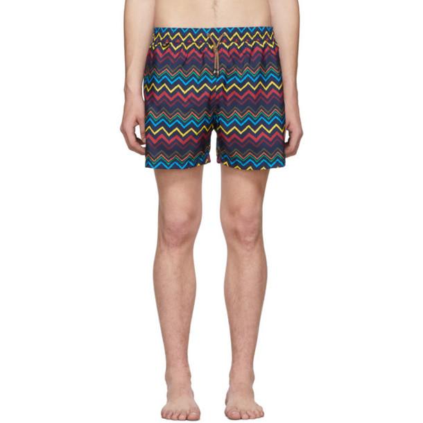 Missoni Navy & Multicolor Zig Zag Swim Shorts