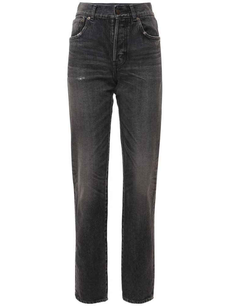 SAINT LAURENT Cotton Denim Straight Leg Jeans in black