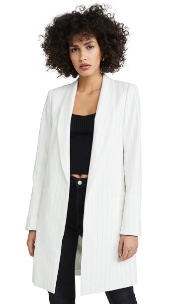 alice + olivia alice + olivia Kylie Long Easy Shawl Collar Jacket in black / white