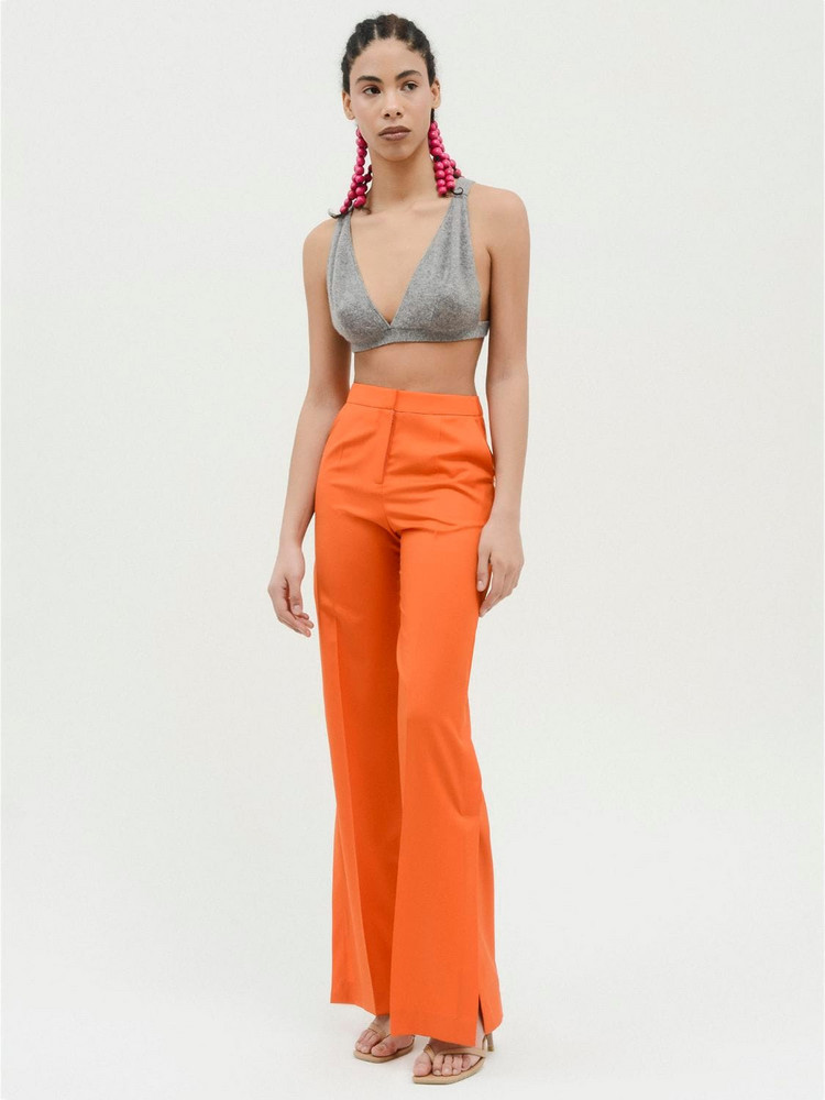 MATÉRIEL High Waist Cool Wool Flared Pants in orange