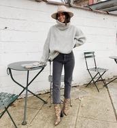sweater,turtleneck sweater,snake skin,heel boots,cropped jeans,grey jeans,hat