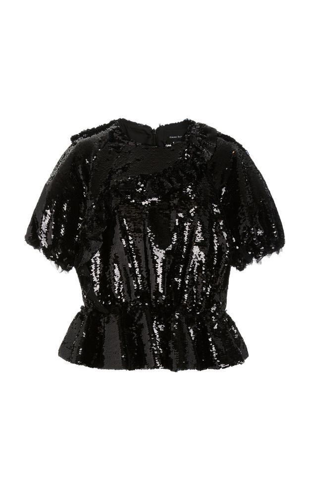 Simone Rocha Ruffled Sequined Chiffon Peplum Top in black