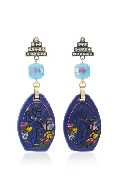 Lulu Frost One-Of-A-Kind Silver-Tone, Enamel And Crystal Earrings