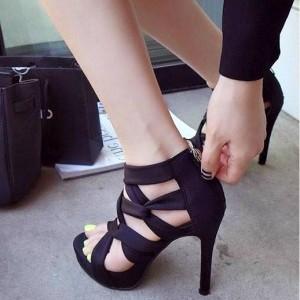 Women's Black Strappy Stiletto Heels Open Toe sandals
