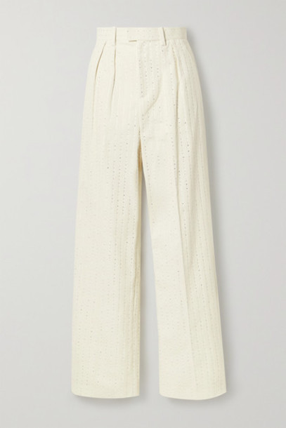 Runway Marc Jacobs - Pleated Crystal-embellished Cotton-corduroy Straight-leg Pants - Ivory
