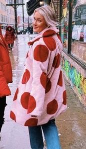 coat,pink,fur,faux fur,fur coat,faux fur coat,red,polka dots,pink fur coat,furry coat,polka dot coat,jacket,red jacket,red coat,pink jacket,pink coat,pink furry coat,girly,fur jacket,faux fur jacket