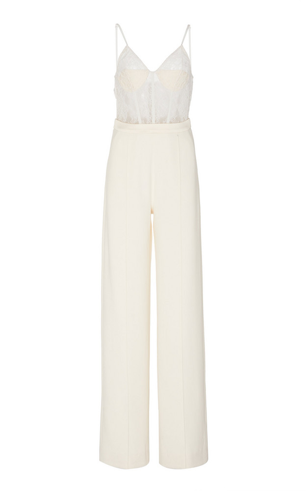Jonathan Simkhai Jenna Lace-Accented Jumpsuit Size: 0 in white