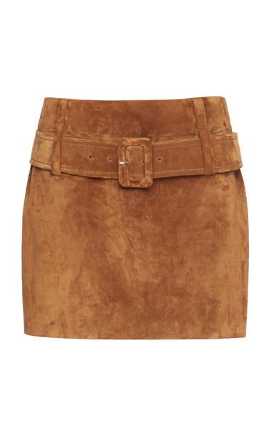 Prada Belted Suede Mini Skirt in brown
