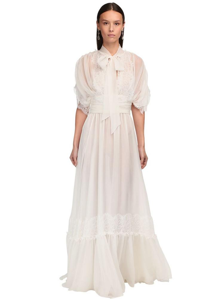 LUISA BECCARIA Draped Silk Chiffon & Lace Long Dress in white
