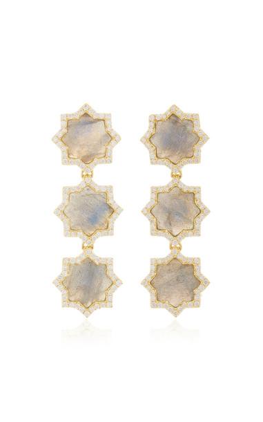 Amrapali Triple Star 18K Gold, Labradorite And Diamond Earrings in blue