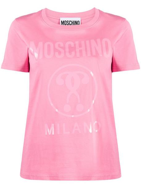Moschino tonal logo print T-shirt in pink