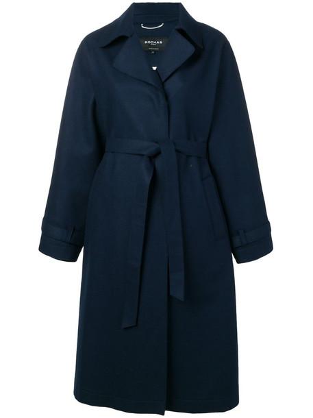 Rochas belted trench coat in blue
