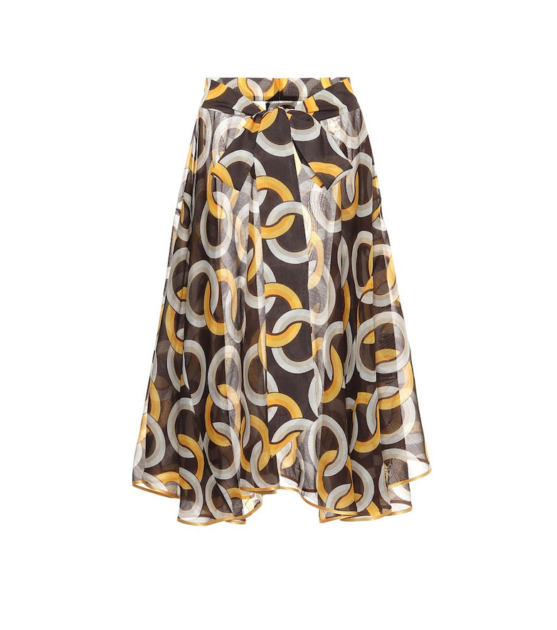 F.R.S For Restless Sleepers Printed cotton and silk midi skirt in brown