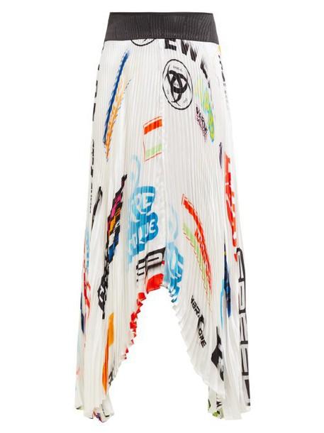 Marine Serre - Logo Print Contrast Panel Pleated Satin Skirt - Womens - White Multi
