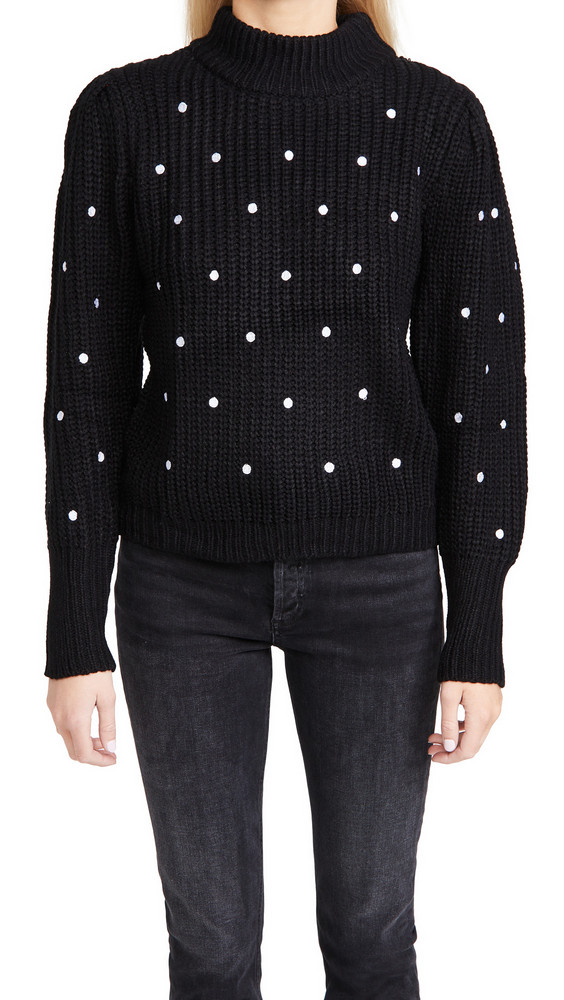 ENGLISH FACTORY Dot Embroidered Sweater in black / white