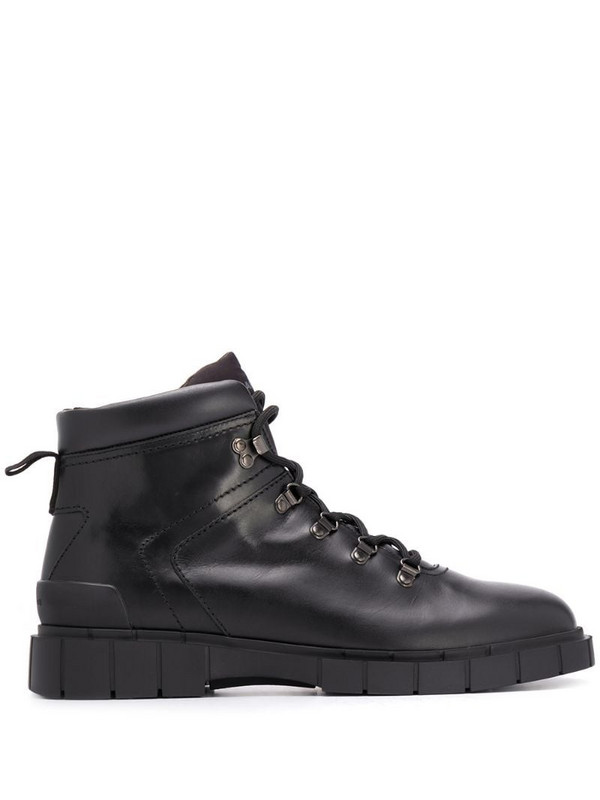 Car Shoe lace-up ankle boots in black