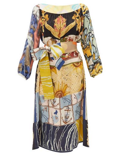 Rianna + Nina Rianna + Nina - Abstract Print Vintage Silk Midi Dress - Womens - Multi