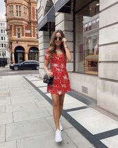 shoes,white sneakers,mini dress,red dress,black bag