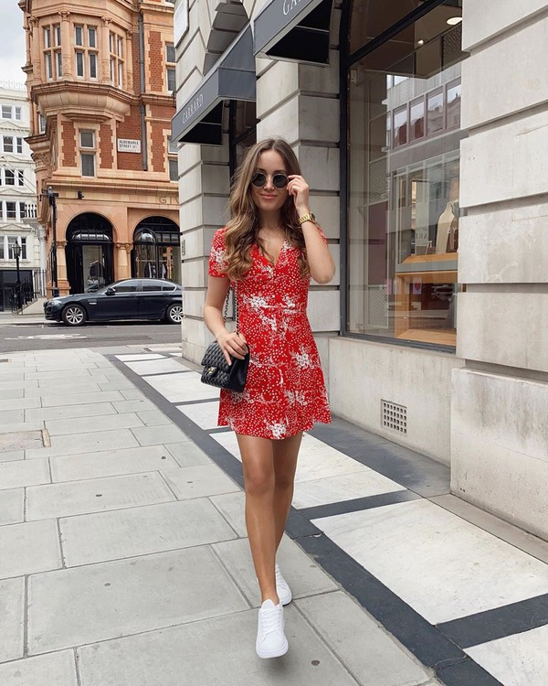 shoes white sneakers mini dress red dress black bag