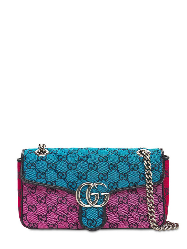 GUCCI Small Gg Marmont  Multicolor Canvas Bag in blue / pink