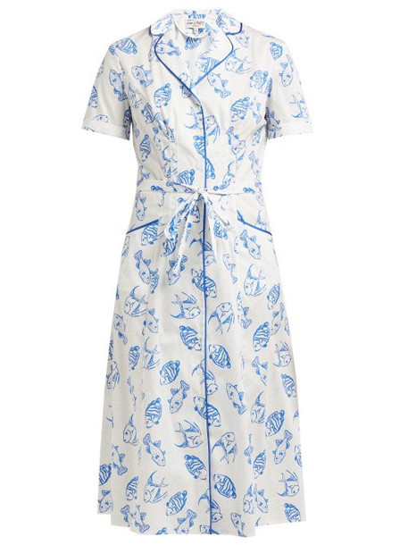Hvn - Maria Fish Print Cotton Blend Midi Dress - Womens - White Multi