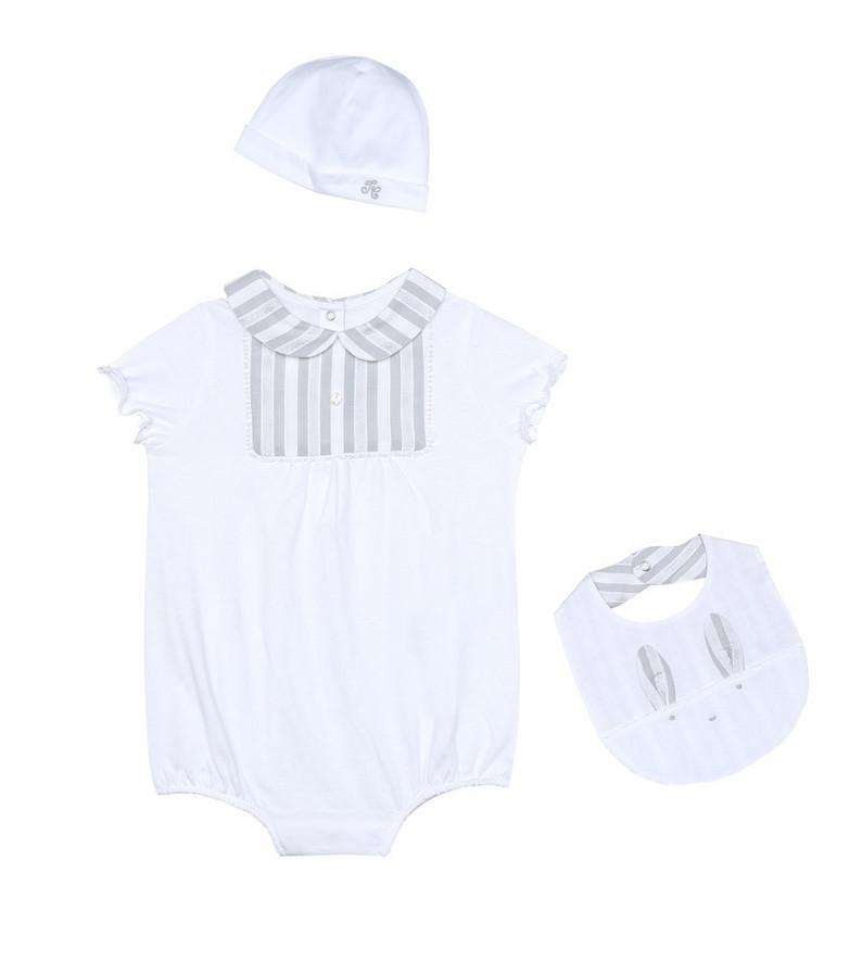 Tartine et Chocolat Baby playsuit, hat and bib set in white