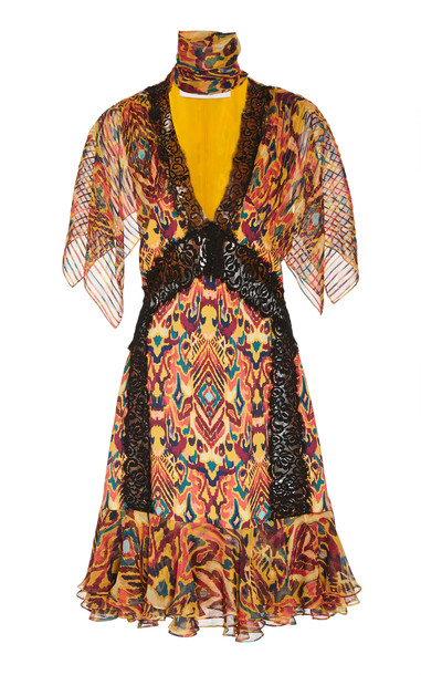 Prabal Gurung Sohawa Lace-Trimmed Printed Silk Mini Dress Size: 10 in multi