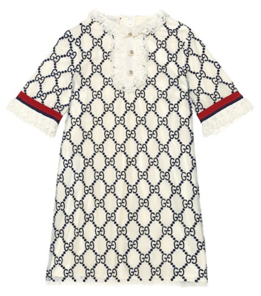 Gucci Kids Logo-embroidered dress in white