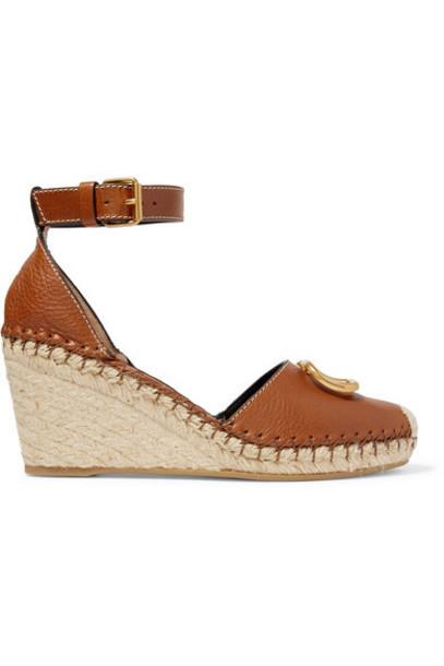 Valentino - Valentino Garavani Go Logo Embellished Textured-leather Espadrille Wedge Sandals - Tan