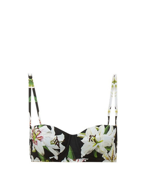 Dolce & Gabbana - Lily Print Balconette Bikini Top - Womens - Black Print