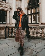 dress,midi dress,black boots,combat boots,leopard print,orange,hoodie,black leather jacket,black bag