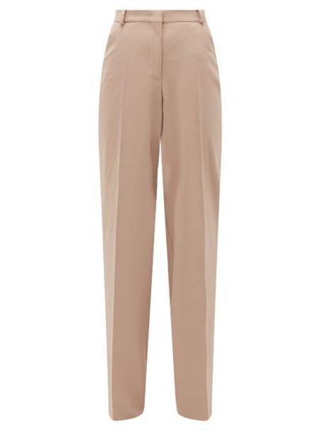 Another Tomorrow - High-rise Wool Flared Trousers - Womens - Beige