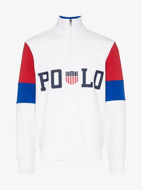Polo Ralph Lauren white striped long-sleeved polo shirt