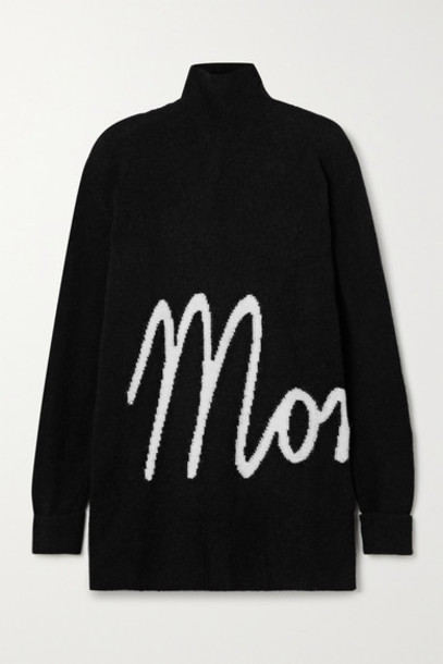 Moncler - Oversized Intarsia Knitted Turtleneck Sweater - Black