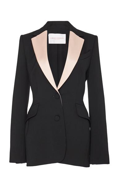 Carolina Herrera Single Breasted Two-Tone Wool-Blend Jacket in black