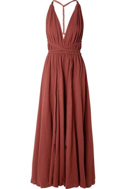 Caravana - Hera Leather-trimmed Cotton-gauze Halterneck Maxi Dress - Burgundy