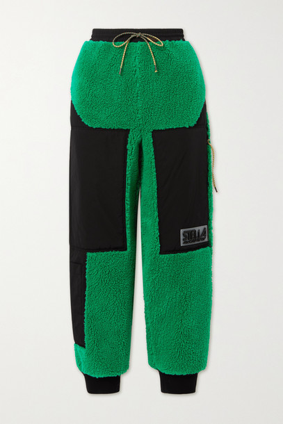 Stella McCartney - + Net Sustain Kara Recycled Faux Shearling And Shell Track Pants - Green